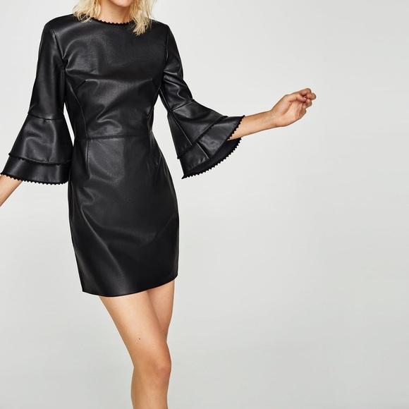 Zara Dresses Nwt Black Faux Leather Ruffle Sleeves Dress Poshmark